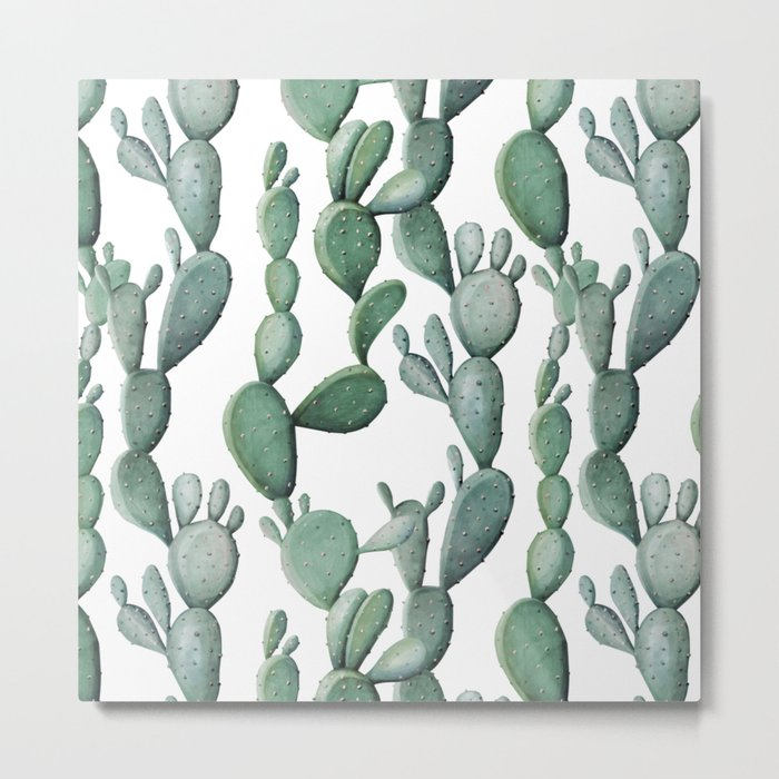 Cactus Bunch Green Metal Print
