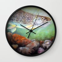 trout Wall Clocks featuring Rainbow Trout by RuthIsrael