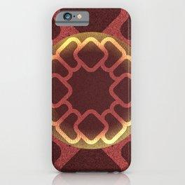 Lighten geometric shapes over dark brown background iPhone Case