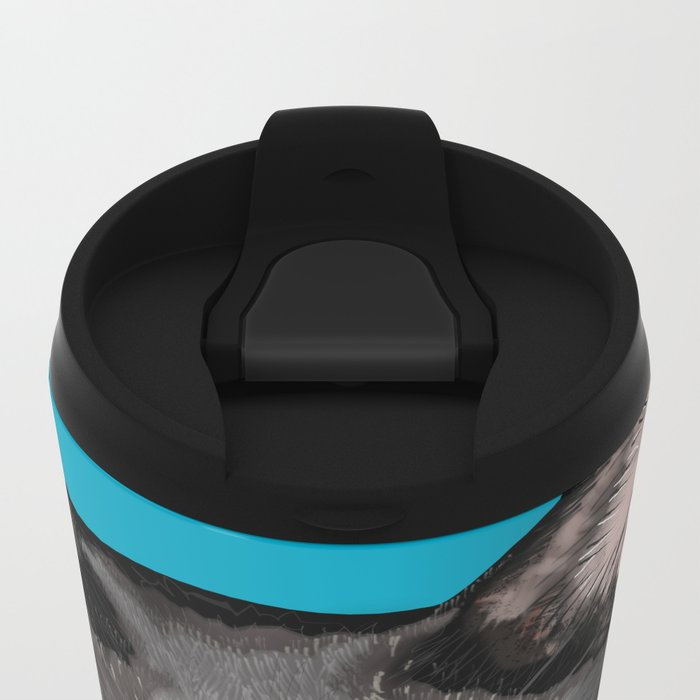 Black Cat Portrait Metal Travel Mug
