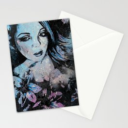 Ruined Our Everything: Blue (graffiti flower lady portrait) Stationery Cards