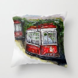 Abandoned Trolley Throw Pillow