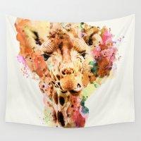 giraffe Wall Tapestries featuring giraffe by RIZA PEKER