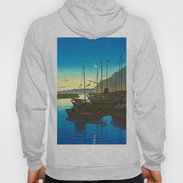 Japanese Woodblock Print Fishing Boats During Sunrise Blue Waters And Sky Hoody