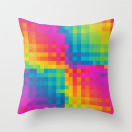 Colorful Pixelated Art Pattern Throw Pillow