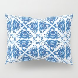 Vintage shabby Chic Seamless pattern with blue flowers and leaves Pillow Sham