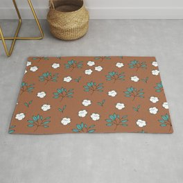 Autumn field lovers cotton balls and leaves botanical garden rust blue Rug