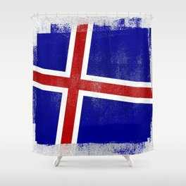Icelandic Distressed Halftone Denim Flag Shower Curtain