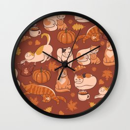 Cats Playing with Leaves and Coffee Wall Clock