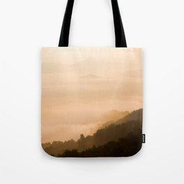Modern Minimalist landscape Sepia Sunset Parallax Mountain Silhouette Tote Bag