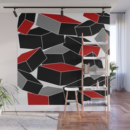 Falling - Abstract - Black, Gray, Red, White Wall Mural
