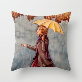 Yellow Umbrella Throw Pillow
