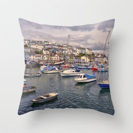 Brixham Harbour Boats  Throw Pillow