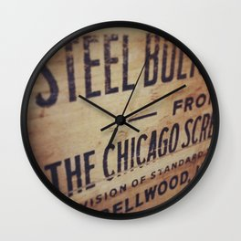 Chicago Wooden Steel Box Wall Clock