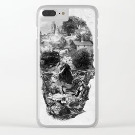 Town Skull B&W Clear iPhone Case