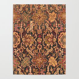 Floral Medallion IV // 18th Century Colorful Blue Lime Green Pink Sapphire Plum Burlap Brown Pattern Poster
