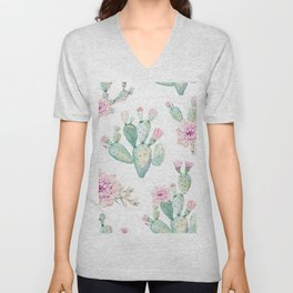 Simply Cactus Rose Unisex V-Neck