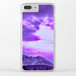 Chugach Mountains in Purple Clear iPhone Case