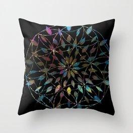 Boho Mandala Flower Splatter Throw Pillow