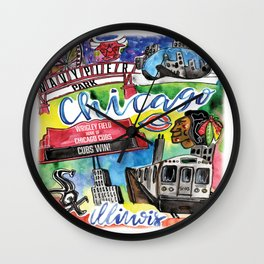 Chicago Watercolor Collage Wall Clock