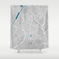 brussels Shower Curtains featuring Brussels city map grey colour by MCartography