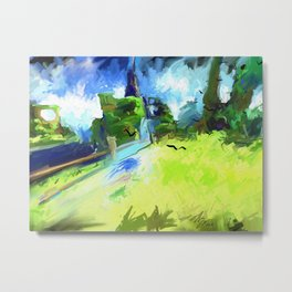 Green Hill with Crows Metal Print