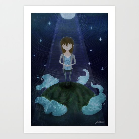 Night Time on the Hill Art Print