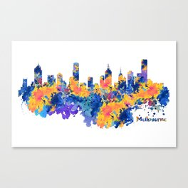 Melbourne Watercolor Skyline Canvas Print