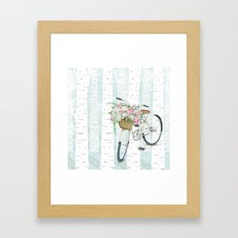 White Vintage bicycle in a Birch Forest Framed Art Print