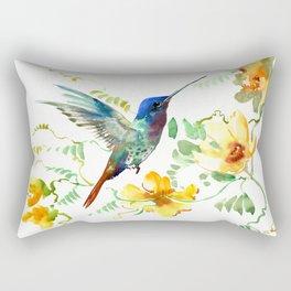 Blue Hummingbird and Yellow Flowers Rectangular Pillow