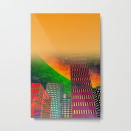 digicity orange curtain Metal Print