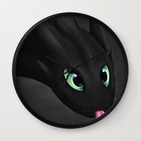 toothless Wall Clocks featuring Toothless by Alkraas