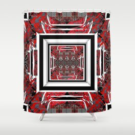 NUMBER 221 RED BLACK GRAY WHITE PATTERN Shower Curtain