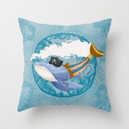 Ballena Pirata Throw Pillow