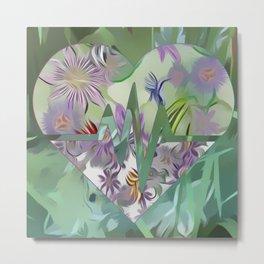 Passion Flower Heart & Fanciful Butterflies Metal Print