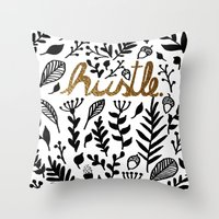 hustle Throw Pillows featuring Hustle by wildpink
