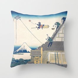 Kiki and the balloon - japanese vintage print mashup Throw Pillow