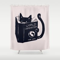 hot Shower Curtains featuring World Domination For Cats by Tobe Fonseca