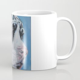 Harlequin Great Dane dog portrait art from an original painting by L.A.Shepard Coffee Mug