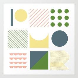 soft colors geometric shapes Art Print