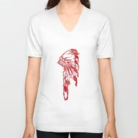 headdress V-neck T-shirts featuring Headdress by ttrostle