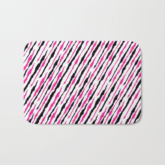 Pink and Black Pattern Bath Mat