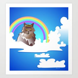Momma Kitty & Rainbow Bridge Art Print