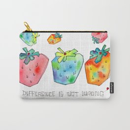 Difference Is Not Wrong watercolor painting strawberry illustration fruits nursery kitchen Carry-All Pouch