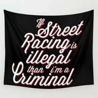 racing Wall Tapestries featuring Street Racing  by Barbo's Art