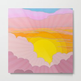Sixties Inspired Psychedelic Sunrise Surprise Metal Print