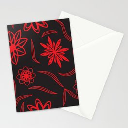 pattern with leaves and flowers linocut style Stationery Cards