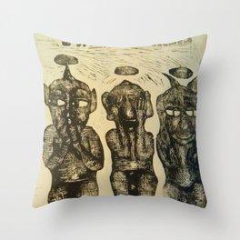 3 Wise Monkeys  Throw Pillow