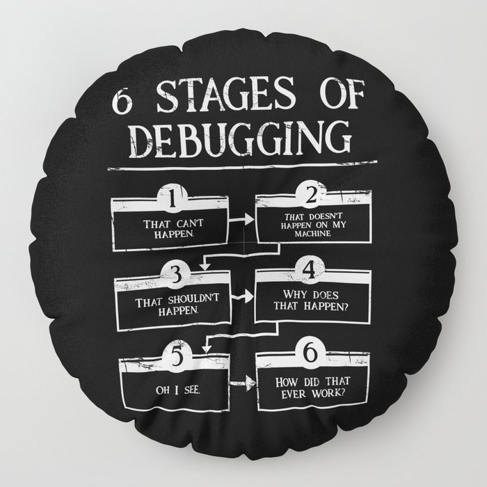 6 Stages Of Debugging Programming Coding Floor Pillow