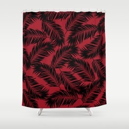 Palm Frond Tropical Décor Leaf Pattern Black on Red Shower Curtain